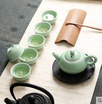 青瓷茶具套裝杯中鯉魚小茶杯整套茶壺茶海陶瓷功夫茶具家用