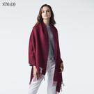 【ST.MALO】秘魯典藏100%Baby Suri羊駝雙色披肩-1921WS-酒紅/梅紅