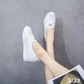 夏季淺口內增高鞋小白鞋女2020夏款透氣百搭白鞋鬆糕鞋薄款板鞋 LR24050『麗人雅苑』