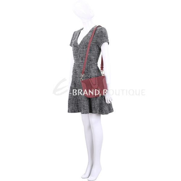 SEE BY CHLOE HANA 小款 編織金屬圈麂皮拼接手拿/肩背包(紅梨色) 1840368-54