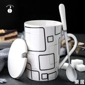 馬克杯 創意陶瓷杯子簡約水杯家用大容量帶蓋勺個性潮流咖啡杯茶杯【快速出貨】
