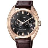 【南紡購物中心】【CITIZEN 星辰】GENT'S 復古紳士品味光動能計時皮帶腕錶-黑(BU4018-11H)