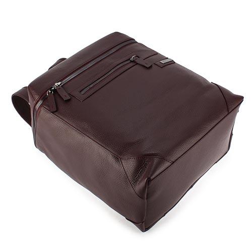 ARMANI COLLEZIONI 荔枝紋皮革鐵牌LOGO後背包(酒紅色)102305-1