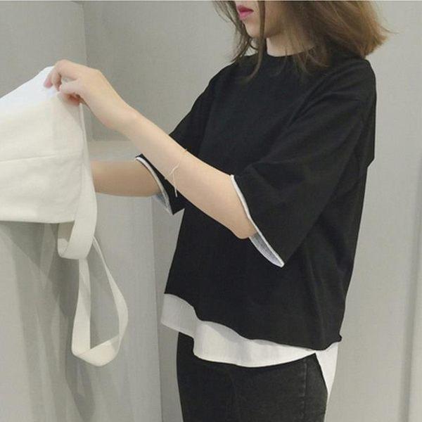 兩件式 純色七分袖假兩件上衣【轉角1號】