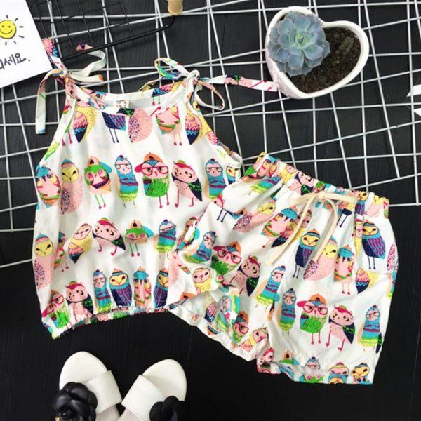 *╮S13小衣衫╭*小童寶貝貓頭鷹背心短褲套裝 1060604