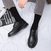 黑色上班休閒皮鞋男工作正裝青年英倫商務學生西裝小皮鞋韓版潮流YJ3060【宅男時代城】