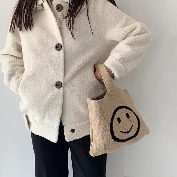 編織包cosy zing 韓國秋冬ins風針織笑臉手提編織包chic毛線手提袋 雲朵走走