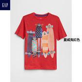 Gap男童 妙趣圖案圓領短袖T恤 305774-夏威夷紅色