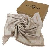 【COACH】經典滿版馬車LOGO100%羊毛圍巾披巾禮盒(灰)