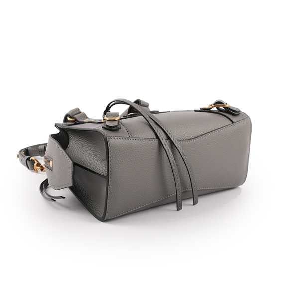 【BALENCIAGA】Neo Classic Mini 牛皮金釦二用機車包(灰色) 638524 15Y41 1219