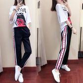 促銷價~女裝夏裝韓版夏季短袖長褲休閑運動服套裝時尚學生兩件套803FZ1F058紅粉佳人