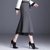 魚尾裙新款毛呢半身裙女秋冬季高腰中長款包臀魚尾裙格子顯瘦一步裙 快速出貨