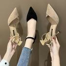 女士涼鞋 2020夏季新款ins時裝涼鞋女仙女風包頭壹字式扣帶細跟高跟鞋【快速出貨】