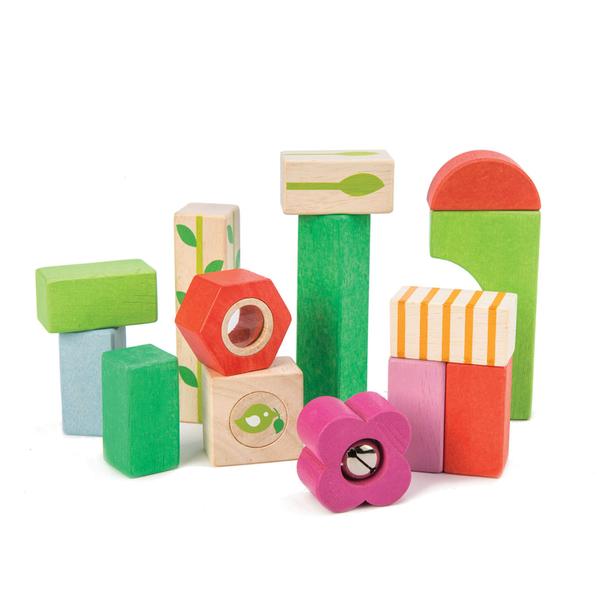 【美國Tender Leaf Toys】多感繽紛積木組(附14塊積木拼圖)