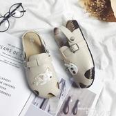 娃娃鞋18日系夏季軟木拖鞋可愛卡通懶貓森女鏤空包頭平底涼鞋復古娃娃鞋 時尚新品