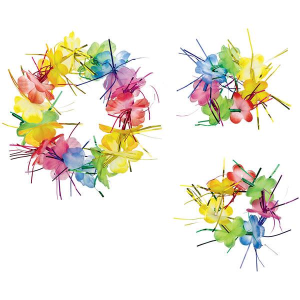 夏威夷花環3入-彩虹