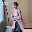 外套 韓版大碼新品休閒修身中長款西服時尚百搭純色長袖流行西裝