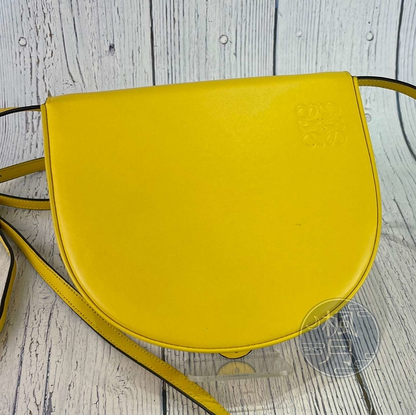 BRAND楓月 LOEWE 羅意威 黃色HEEL 小號 兩用包 腰包 肩背包 側背包 斜背包 全皮 掀蓋 經典造型