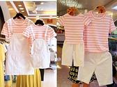 親子裝夏裝加大尺碼新款一家三四口短袖套裝背帶裙母子母女洋氣家庭裝