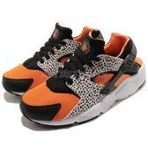 【五折特賣】Nike 武士鞋 Huarache Run Safari GS 黑 橘 蟾蜍紋 運動鞋 女鞋 大童鞋【PUMP306】 820341-100