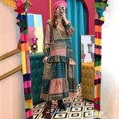 洋裝韓國ins復古民族風印花圓領不規則拼接撞色木耳邊洋裝長裙女(快速出貨)