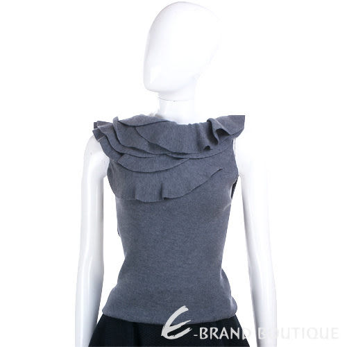PLEIN SUD JEANIUS 荷葉造型領上衣(灰色) 0940404-06