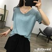 棉麻上衣 細米 JU顯白8色簡約基礎款亞麻天絲V領短袖寬鬆T恤女上衣春夏 愛麗絲
