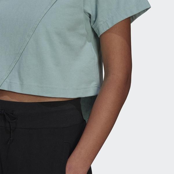 Adidas ORIGINALS BELLISTA 女裝 短袖 T恤 休閒 不對稱下擺 寬鬆 棉 綠【運動世界】GN3158