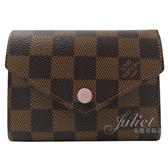 Louis Vuitton LV N61700 VICTORINE 棋盤格紋零錢中短夾.芭蕾粉 全新 預購【茱麗葉精品】
