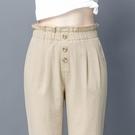 七分夏季薄款棉麻哈倫褲九分春秋款2021新款小個子小腳女士高腰 果果輕時尚