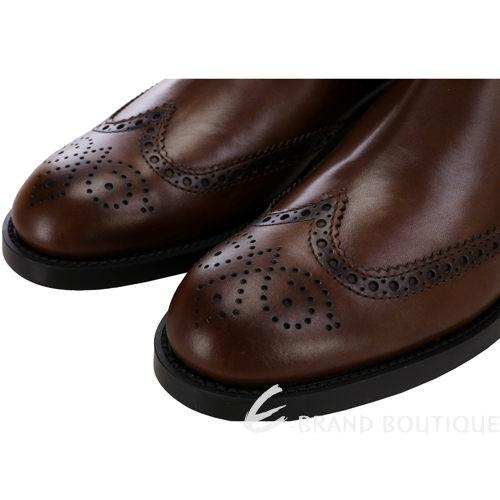 TOD'S 咖啡色牛皮雕花拼接設計中筒靴(男鞋) 1330247-07