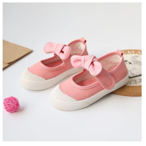 帆布鞋 女孩 甜美蝴蝶結款四季兒童帆布鞋-粉