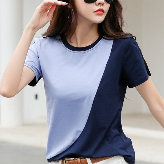 韓 短袖上衣 圓領T恤S-3XL純棉 拼接色上衣遮肚子女士寬鬆半袖洋氣H412A.3356 皇潮天下