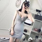 性感洋裝 2017夏季新款性感V領低胸吊帶背心女高腰修身包臀連衣裙