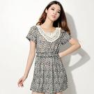 ※現貨 Billgo【Z422030】動物紋蕾絲花邊收腰連身裙/洋裝 2色