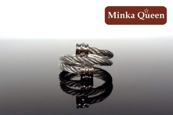德國鈦鋼 纜繩鋼索 流行時尚設計款造型抗敏造型戒