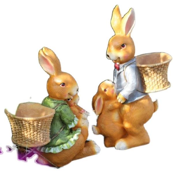花園擺件造景庭院裝飾兔子創意可愛陽臺布置戶外室外院子露臺別墅