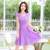 洋裝-短袖雪紡純色V領花朵女連身裙5色73ri52【巴黎精品】