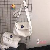 帆布包 ins日系少女泫雅風可愛小花花單肩斜背包學生大容量工裝帆布包潮 2色