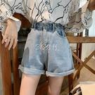 高腰牛仔短褲女夏學生韓版寬鬆修身百搭熱褲黑色毛邊超短褲潮