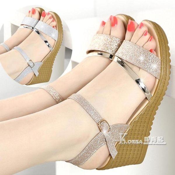 新款春夏季女鞋平底厚底楔形涼鞋女高跟鞋粗跟防滑魚嘴學生鞋子 Korea時尚記