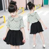 女童夏裝兒童短袖半身裙套裝2018新款LJ4557『miss洛羽』