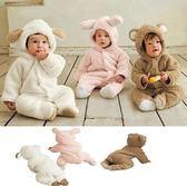 長袖連身衣 小羊動物造型爬服/含帽子長袖連身衣/加厚/保暖/全棉/絨毛 W61002