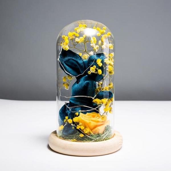永生花禮盒玻璃罩擺件玫瑰花保鮮花干花生日情人圣誕節禮物送女友 快速出貨