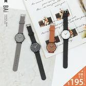 手錶 皮革壓紋刻度中性大圓錶-BAi白媽媽【196127】