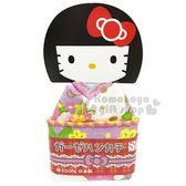 〔小禮堂〕Hello Kitty 日製棉質小方巾《紫黃.和服人偶》20x20cm.手帕 4991567-26386
