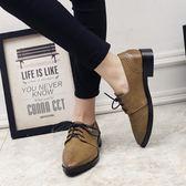 尖頭平底鞋女繫帶百搭布洛克復古女鞋夏小皮鞋女英倫學院風牛津鞋  魔法鞋櫃