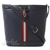 茱麗葉精品【全新現貨】BALLY Beira 紅白織帶條紋束口斜背水桶包.深藍