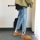 文藝男女店牛仔褲拼接直筒褲子韓版多口袋男士秋季潮流休閒褲男褲