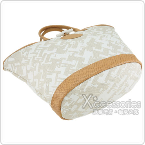 LONGCHAMP 異國風情編織效果設計手提肩背包(淡褐/小)